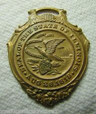 Antique Illinois 14k gold on bronze Souvenir Watch Fob 'Seal of the State'