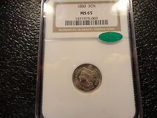 "1880 3cn 3 CENT NICKEL NGC MS 65 WITH ""CAC"" DECAL- EXCELLENT STRIKE- CLEAN COIN"