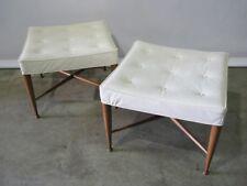 "*PAIR* Edward Wormley For Dunbar Pair ""Thebes"" Stools; Original Upholstery 1950"