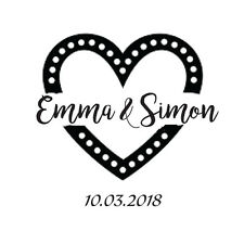 WEDDING STAMP, PERSONALISED BESPOKE INITIALS & DATE 50mm heart