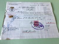 Paton Air & Co  1906 Explosives Gunpowder merchants Receipt  Ref R32183