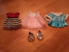 Lot of Build A Bear Dresses / Gowns and Shoes - Sequin, Fur Lined - Blue, Pink