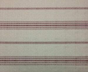 "BALLARD DESIGNS CALLISTO STRIPE RED NUBBY LINEN FURNITURE FABRIC BY YARD 54""W"