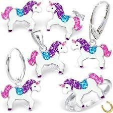 Glitzer Einhorn Ohrstecker Brisur Ring Anhänger Kette 925 Silber Pferd Ohrringe