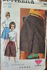 Vtg Butterick pattern 3656 Misses' Front Buttoned Skirt size waist 26 hip 36
