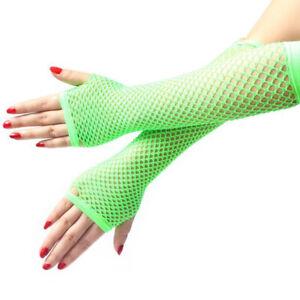 Gothic Long Lace Mesh Fishnet Arm Sleeve Gloves Dance Costume Fingerless Mitten