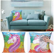 Unicorn Mermaid Pillow Case Cushion Sequin Covers Reversible Magic Home Decor