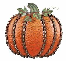 "Metal Pumpkin Leaf Swirled Decor 19""H Thanksgiving Pumpkin Decoration Free Stand"