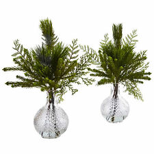 "Set of 2 Artificial 18"" Mixed Pine Leaves Arrangements in Faux Water Glass Vases"