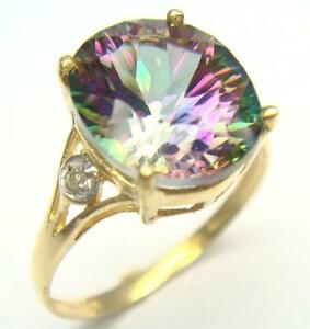 BESTJEWELLERY 10KT YELLOW GOLD 4CT MYSTIC TOPAZ & DIAMOND RING SIZE 7  R930