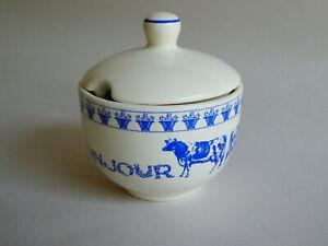 Paris Je T'Aime Bonjour Sugar Bowl or Creamer - Blue Cow, Potted Flowers