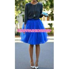Summer Blue Soft Tulle Lolita girls Skirt Beachwear Saias Jupe TUTU Skirt S-3XL