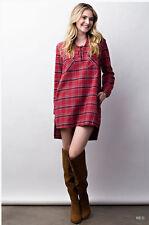 Cozy Plaid Long Sleeve Flannel Oversized Asymmetric Tunic Shirt Dress Bohemian