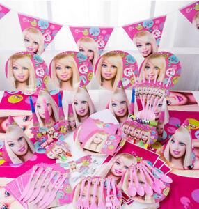 90Pcs Barbie Kids Princess Birthday Party Tableware Decoration Plates Flag Horns