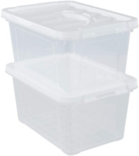 2Packs Inhouse Clear Plastic Storage Bin Box Locking Lids Container Pantry Home