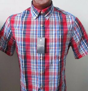 NWT Chaps Button Down Casual Shirt Short Sleeve Red Check Sizes M L