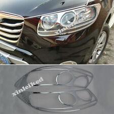Fit For Hyundai Santa Fe 2010-2012 ABS Chrome Headlight Trim Bezel Cover 2PCS