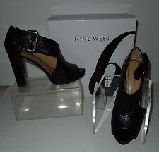 """Nine West """"NW-Mega"""" Black Leather Open Toe & Side Platform Shoes w/Buckle 7.5M"""