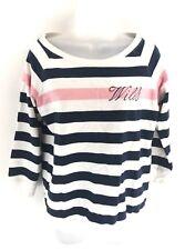 JACK WILLS Womens Jumper Sweater 8 White Pink Blue Stripes Cotton