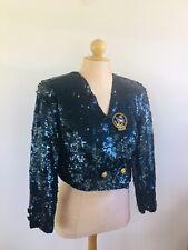 Vintage Modi Blue Sequin Jacket Cropped Bolero Anchor Dove Eagle Buttons M 8/10
