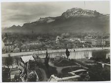 France, Grenoble, Jardin des Dauphins et panorama sur la ville  Vintage silver