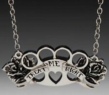 Treat Me Right Gothic Brass Knuckles Necklace Deathrock Rockabilly Necklace -New