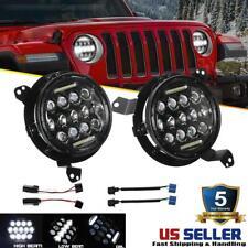 DOT 7 inch Round LED Headlights HI-LO Projector Black for Jeep Wrangler JL 18 19