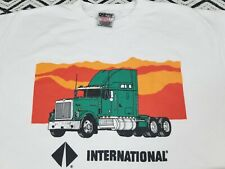 VTG 90`s INTERNATIONAL TRUCKS T Shirt Trucking,Truckers ,wht,big XL