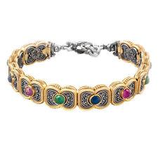 B340 ~ Sterling Silver with Gemstones Medieval Link Bracelet