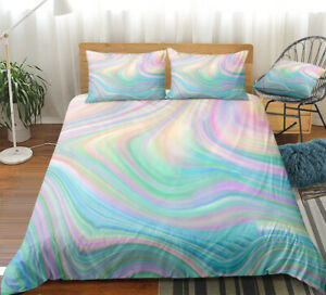 Rainbow Girl Art Abstract Pink Double Single Quilt Duvet Pillow Cover Bed Set