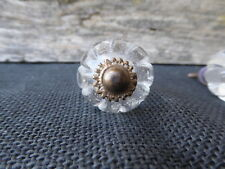 Clear CRYSTAL GLASS Knob Drawer Pull ~ Pumpkin Pattern Romantic French Country