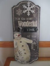 "Large 24"" Retro Vintage Metal Wood Snowman Christmas Holiday Plaque Decor Sign"