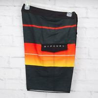 "Rip Curl Men's Eclipse Board Shorts Size 32 Mid-Leg 20"" Black/Orange/Yellow"