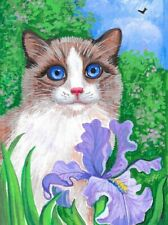 1.5x2 Dollhouse Miniature Print Of Painting Ryta 1:12 Scale Easter Cat Ragdoll