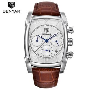 BENYAR Men Luxury Date Retangle Analog Quartz Sport Wrist Watch Waterproof Reloj