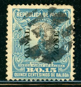 CANAL ZONE Used Selections: Scott #64 15c Light Blue (1921) CV$17+