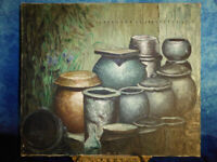 Still Life OIL PAINTING of Pots & Urns Against Garden Fence - Amateur Art Canvas