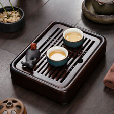 Tea Table Luxury Small Gongfu Tea Tray with Water Tank Ebony Wood 27*20*5cm