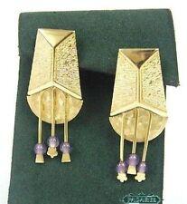 Designer 14k Yellow Gold Amethyst Chandelier Earrings