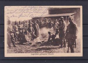 Feldpostkarte Lagerleben gefangener Russen gelaufen 1914 ANSEHEN