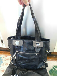 B Makowsky Large Leather Shoulder Bag Tote Metallic Crackle Sparkle Black FAB!