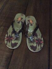 Ladies Shell And Button Detail Flip Flops/beach Sandals Size 7 BNWT