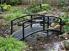Large Outdoor Steel Bridge 8 Foot Garden Pond Bridges Pond Durable Black New