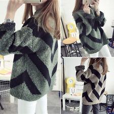 NEW Korean Style Loose Jumpers Sweater Winter Fashion Oversized Striped Knitwear