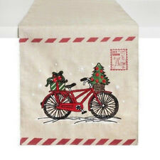 Table Runner Christmas Winter Bicycle Postcard 13 X 72 Embroidered New