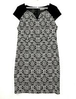 Jacqui E Women's Sz 16 Black White Cap Sleeve Knee Length Sheath Business Dress