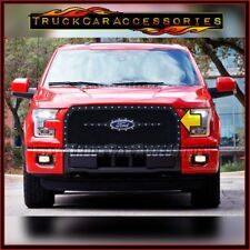 For FORD F150 2015 2016 17 Black Silver Rivet STEEL Mesh REPLACEMENT Grille 1PC