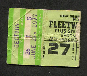 Original 1977 Fleetwood Mac concert ticket stub Rumours Tour