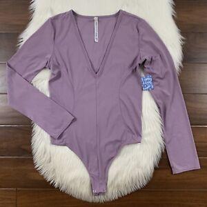 Intimately Free People Women's Size Large Purple  Lavender Thong Bodysuit Top
