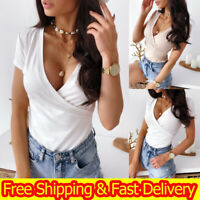 Womens Summer Casual Sexy Slim-Fit Ribbed T-shirt Short-Sleeved Solid Top Blouse